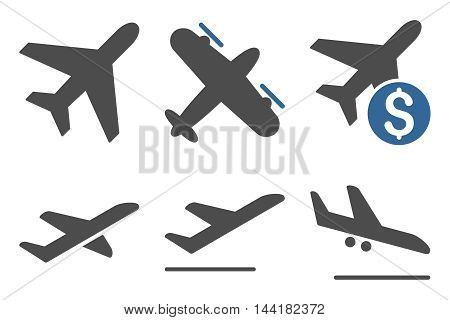 Aviation vector icons. Pictogram style is bicolor cobalt and gray flat icons with rounded angles on a white background.