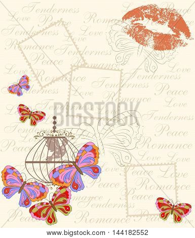 illustration - card - in vintage style with beautiful butterfly.