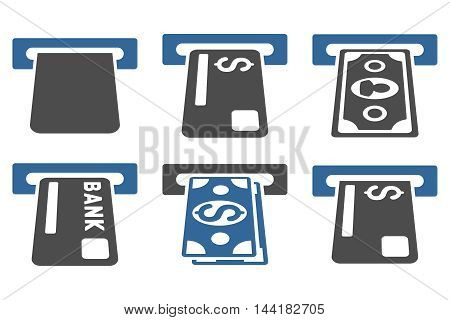 Banking ATM vector icons. Pictogram style is bicolor cobalt and gray flat icons with rounded angles on a white background.