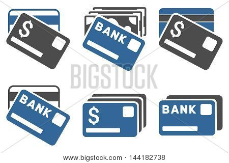 Banking Cards vector icons. Pictogram style is bicolor cobalt and gray flat icons with rounded angles on a white background.