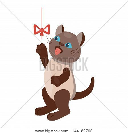 Cat cartoon style vector silhouette. Cute domestic cat animal playfull. Cartoon cat young adorable tail symbol playful. Cartoon funny domestic pussy kitty character