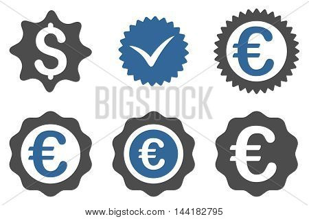 Banking Stamp vector icons. Pictogram style is bicolor cobalt and gray flat icons with rounded angles on a white background.