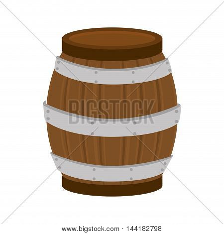 barrel of wood beverage container drink wine beer alcohol vector illustration
