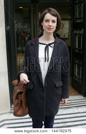 LONDON, UK, JAN 30, 2013: Jessica Raine seen at the BBC radio two studios picture taken from the street