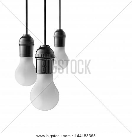 Hanging light bulbs isolated on white background