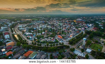 Aerial view of lamphun citynorth in thailand.