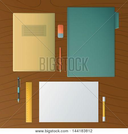 Mockup scenes on education theme vector illustration.