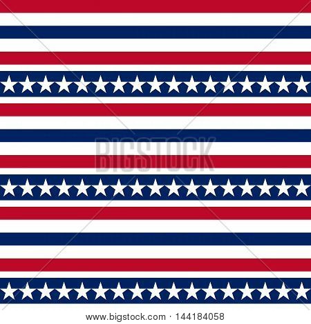 American patriotic seamless vector pattern with stars and stripes. Independence, labor, memorial or patriot day background.