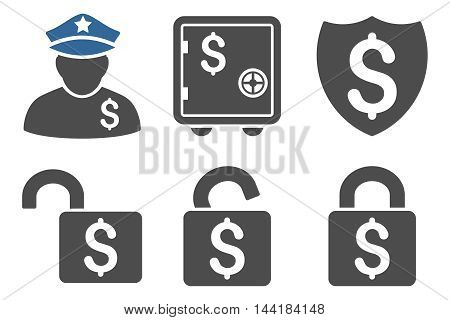 Financial Guard vector icons. Pictogram style is bicolor cobalt and gray flat icons with rounded angles on a white background.