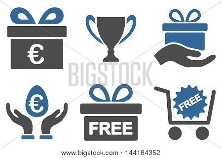 Gift vector icons. Pictogram style is bicolor cobalt and gray flat icons with rounded angles on a white background.