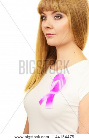 Woman Wih Pink Cancer Ribbon On Chest