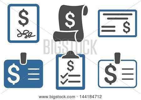 Payment Cheque vector icons. Pictogram style is bicolor cobalt and gray flat icons with rounded angles on a white background.