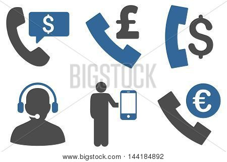 Phone Order vector icons. Pictogram style is bicolor cobalt and gray flat icons with rounded angles on a white background.