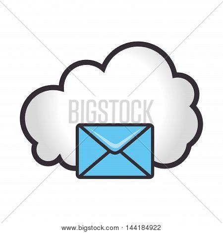 cloud computing and data digital envelope technology mail vector illustration