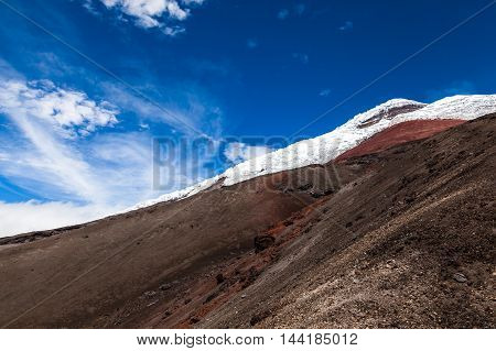View sands and glaciers of Cotopaxi Volcano with blue sky and the rock wall and top