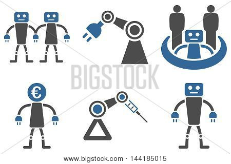 Robotics vector icons. Pictogram style is bicolor cobalt and gray flat icons with rounded angles on a white background.