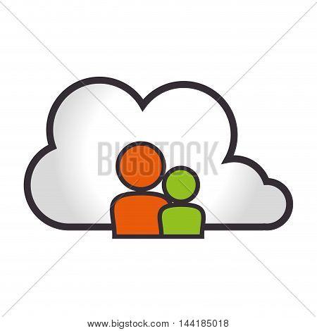 cloud computing and data digital technology social media vector illustration