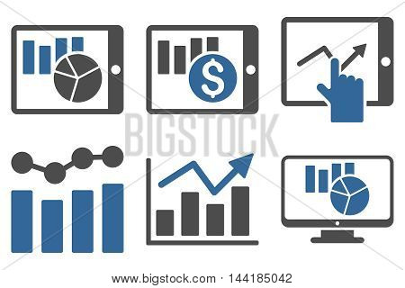 Sales Charts vector icons. Pictogram style is bicolor cobalt and gray flat icons with rounded angles on a white background.
