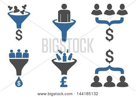 Sales Funnel vector icons. Pictogram style is bicolor cobalt and gray flat icons with rounded angles on a white background.