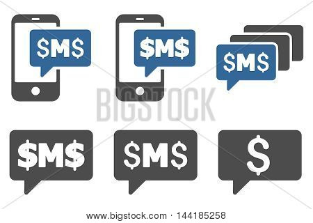 SMS Messages vector icons. Pictogram style is bicolor cobalt and gray flat icons with rounded angles on a white background.