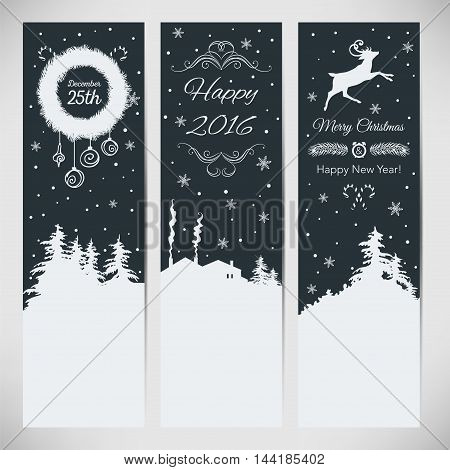Vector set of three Christmas vertical banners.