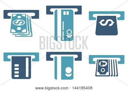 ATM Bank Cashout vector icons. Pictogram style is bicolor cyan and blue flat icons with rounded angles on a white background.