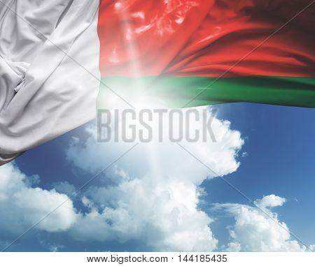 Madagascar flag on a beautiful day