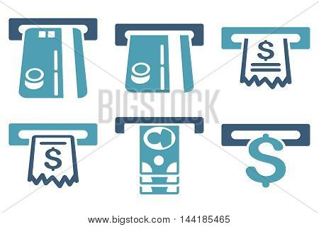ATM Slot vector icons. Pictogram style is bicolor cyan and blue flat icons with rounded angles on a white background.