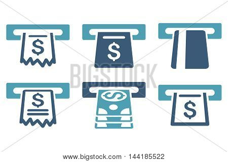 Automated Cashier vector icons. Pictogram style is bicolor cyan and blue flat icons with rounded angles on a white background.