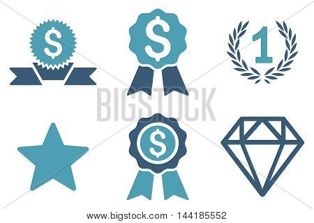 Award vector icons. Pictogram style is bicolor cyan and blue flat icons with rounded angles on a white background.