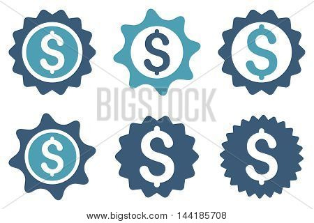 Bank Seal vector icons. Pictogram style is bicolor cyan and blue flat icons with rounded angles on a white background.
