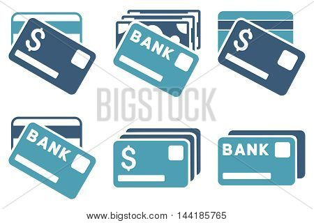 Banking Cards vector icons. Pictogram style is bicolor cyan and blue flat icons with rounded angles on a white background.