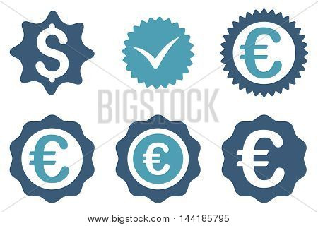 Banking Stamp vector icons. Pictogram style is bicolor cyan and blue flat icons with rounded angles on a white background.