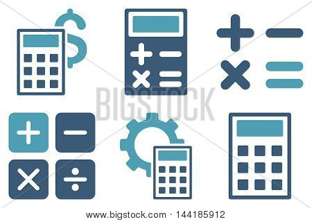 Calculator vector icons. Pictogram style is bicolor cyan and blue flat icons with rounded angles on a white background.