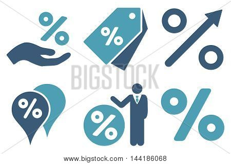 Discount Percent vector icons. Pictogram style is bicolor cyan and blue flat icons with rounded angles on a white background.