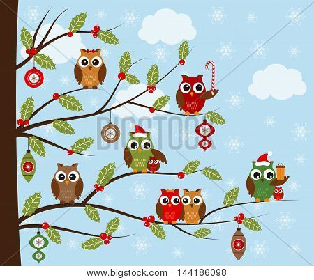 Vector Christmas green and red owls on holly branches