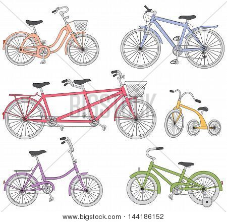 Vector hand drawn doodle colorful bicycle set