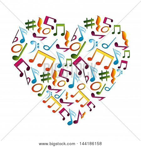 music heart with musical notes composition love vector illustration