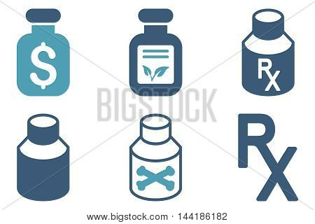 Drugs Vial vector icons. Pictogram style is bicolor cyan and blue flat icons with rounded angles on a white background.