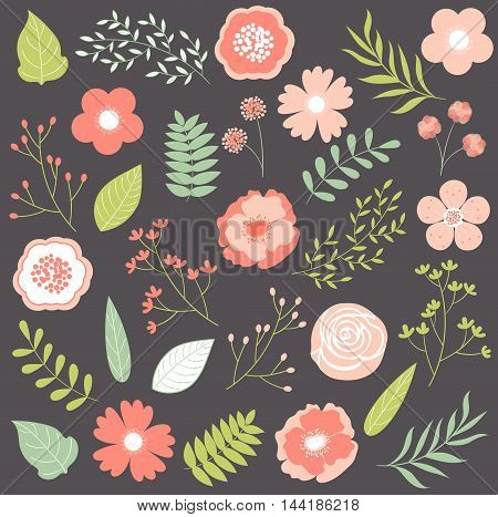 Vector pastel pink flowers with leaves and branches