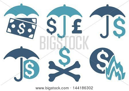 Financial Umbrella vector icons. Pictogram style is bicolor cyan and blue flat icons with rounded angles on a white background.