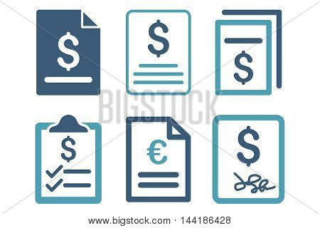 Invoice vector icons. Pictogram style is bicolor cyan and blue flat icons with rounded angles on a white background.