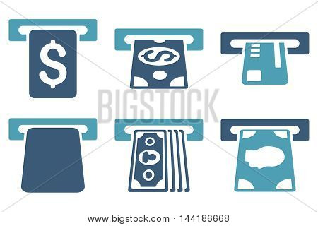 Payment Terminal vector icons. Pictogram style is bicolor cyan and blue flat icons with rounded angles on a white background.