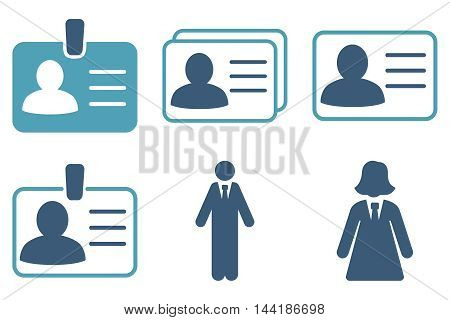 Person Account Card vector icons. Pictogram style is bicolor cyan and blue flat icons with rounded angles on a white background.
