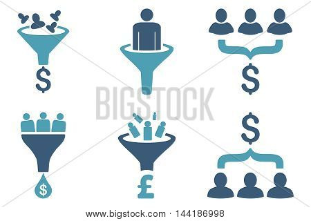 Sales Funnel vector icons. Pictogram style is bicolor cyan and blue flat icons with rounded angles on a white background.