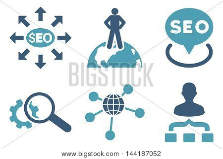 Seo Marketing vector icons. Pictogram style is bicolor cyan and blue flat icons with rounded angles on a white background.