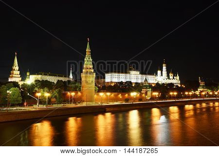 Night view of the Kremlin and the Moskva River, Moscow, Russia
