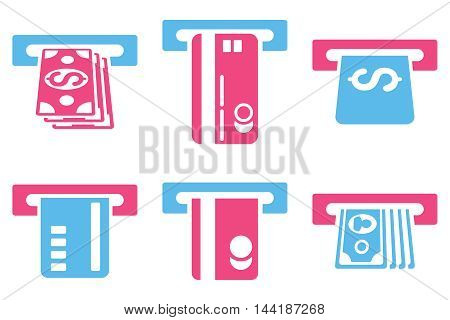 ATM Bank Cashout vector icons. Pictogram style is bicolor pink and blue flat icons with rounded angles on a white background.