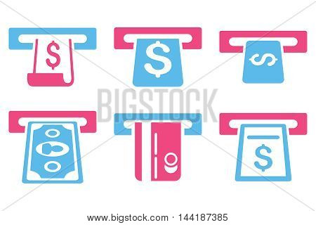 ATM Withdraw vector icons. Pictogram style is bicolor pink and blue flat icons with rounded angles on a white background.