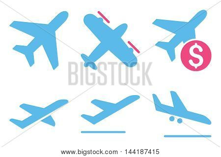 Aviation vector icons. Pictogram style is bicolor pink and blue flat icons with rounded angles on a white background.